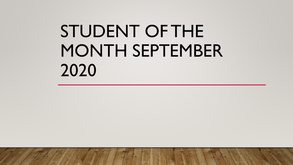 Student of the Month September 2020