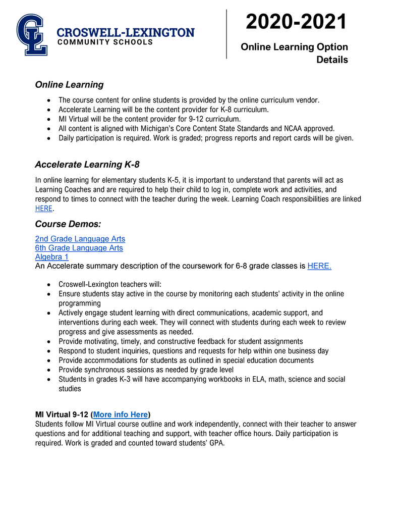 Document describing learning options
